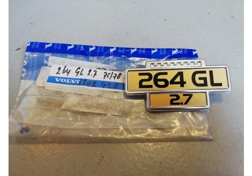 """Emblem """"264 GL 2.7"""" 1202428 NOS until '78 Volvo 260, 264"""