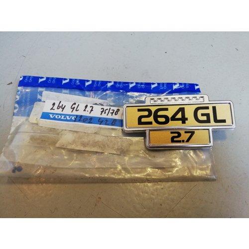 "Embleem ""264 GL 2,7"" 1202428 NOS t/m '78 Volvo 260, 264"