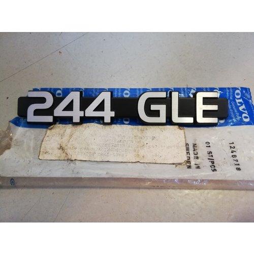 Embleem kofferbak achterklep '244 GLE' 1246718 NOS Volvo 240, 244