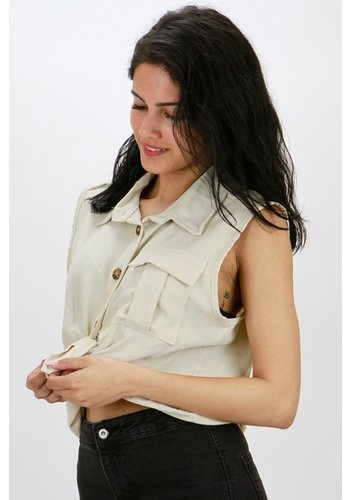 Mouwloos Blouse Beige