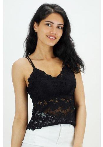 Kanten Dress Top Zwart