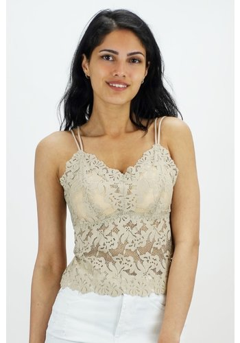 Kanten Dress Top Beige