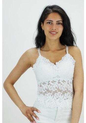 Kanten Dress Top Wit