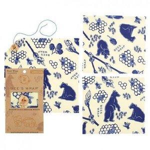 Bee's Wrap Bijenwas Doekjes Lunchpack - Bears & Bees