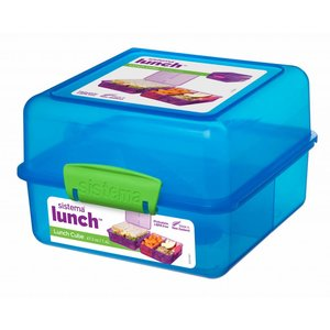 Sistema Lunchbox 'Cube' (1.4L) - Blue with colored clips