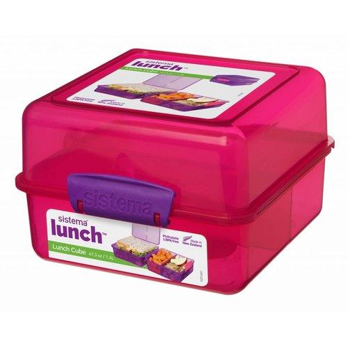 Sistema Lunchbox 'Cube' (1,4l) - Roze met gekleurde clips