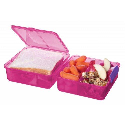 Sistema Lunch Box 'Cube' - Roze met gekleurde clips