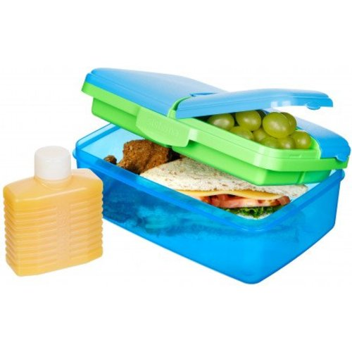 Sistema Lunch Box Slimline Quaddie- Blauw/Gekleurd