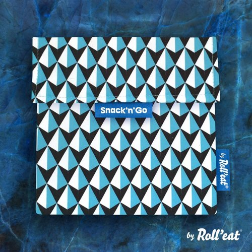 Roll'Eat Snack'n'Go Herbruikbaar Boterhamzakje - Tiles Blue