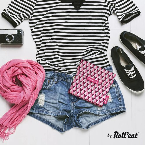 Roll'Eat Snack'n'Go Herbruikbaar Boterhamzakje - Tiles Pink