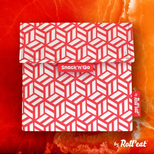 Roll'Eat Snack'n'Go Herbruikbaar Boterhamzakje - Tiles Red