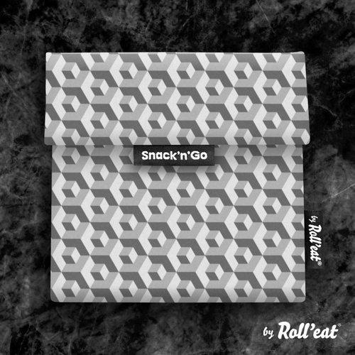 Roll'Eat Snack'n'Go Herbruikbaar Boterhamzakje - Tiles Black