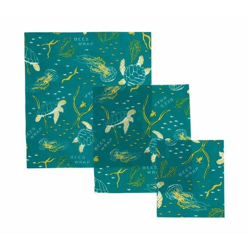 Bee's Wrap Bijenwas Doekjes (S/M/L) - Ocean Print (3 Stuks)