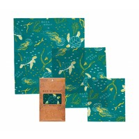 Beeswax Wrap (S / M / L) - Ocean Print (3 Pieces)