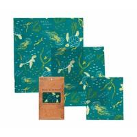 Bijenwas Doekjes (S/M/L) - Ocean Print (3 Stuks)