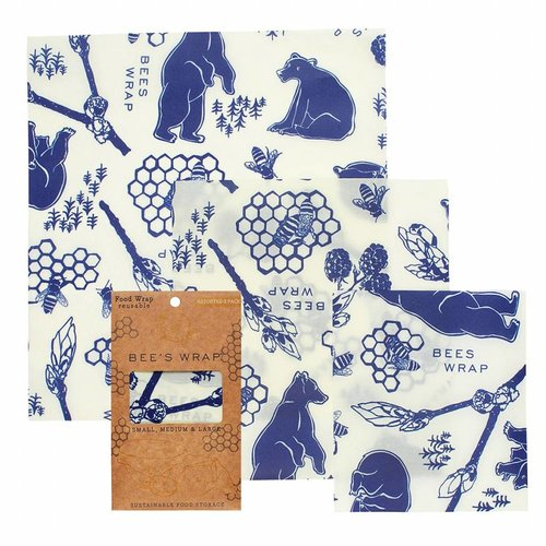 Bee's Wrap Beeswax Wrap (S / M / L) - Bears & Bees (3 Pieces)