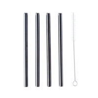 Stainless Steel Straws – Black Straight