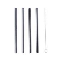 Stainless Steel Straws – Black Straight