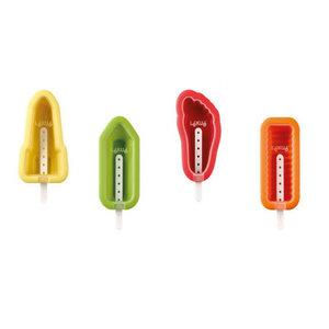 Lekue Siliconen Ijsvormpjes (4st)  - Potlood, Voet, Raket en Twister