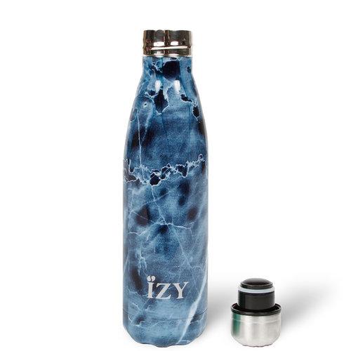 IZY RVS Drinkfles Thermosfles (500ml) - Blauw Marmer