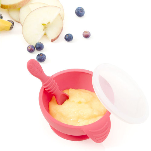 Bumkins Silicone First Feeding Set - Pink/Red