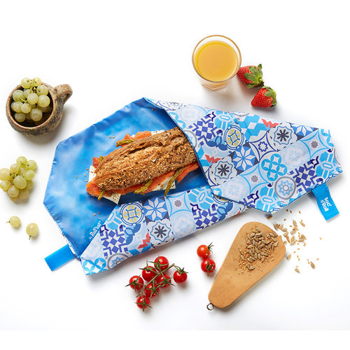 Roll'Eat Boc'n'Roll Foodwrap - Patchwork Blauw
