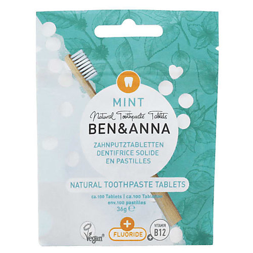 Ben & Anna Toothpaste Tablets - Mint With Fluoride (100 Tabs)