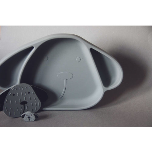 The Cotton Cloud Silicone Plate Milo with Suction Cup - Storm Grey