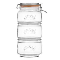 Set van 3 Stapelbare Glazen Voorraadpotten