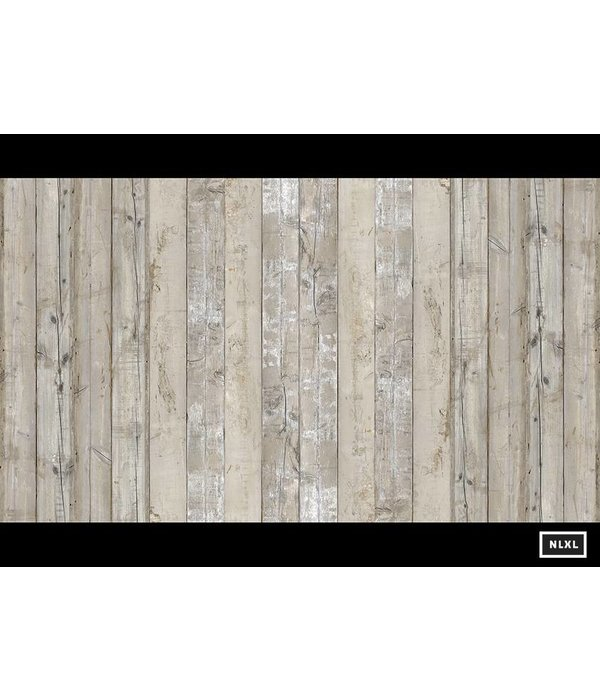 Piet-Hein-Eek Behang Piet Hein Eek - brede planken vaal beige - grijs -wit Wallpaper