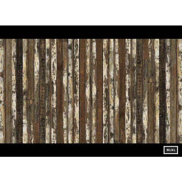 Behang Piet Hein Eek - verweerde planken donker bruin naturel wit