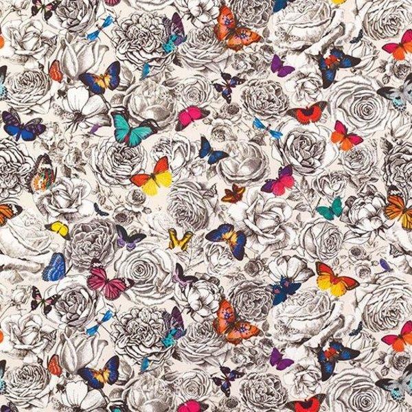 Butterfly Garden Multi/Pale Linnen W6592-01