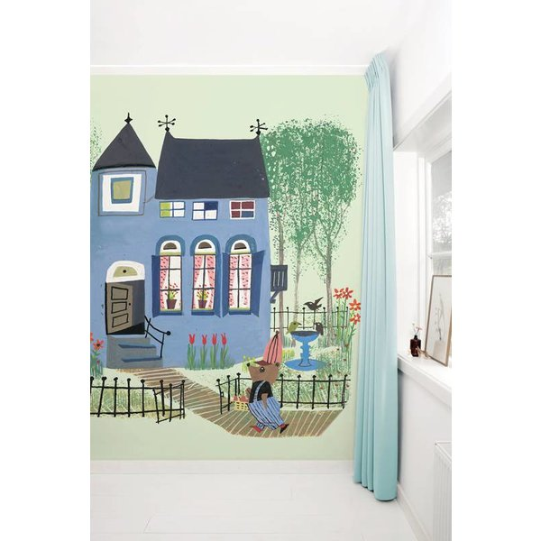 Bear with Blue House GREEN WS-042