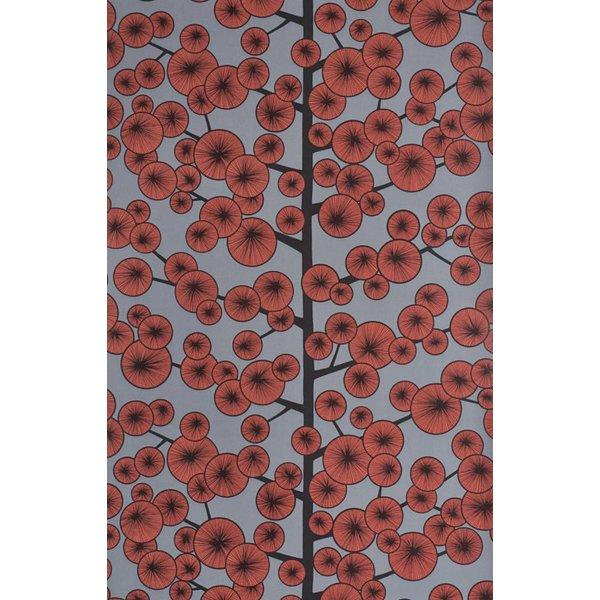 Behang Cotton Tree grijs en rood MISP1034