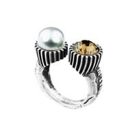 "Ring ""treasure island"" MG5423 Rookkwarts, zoetwaterparel"