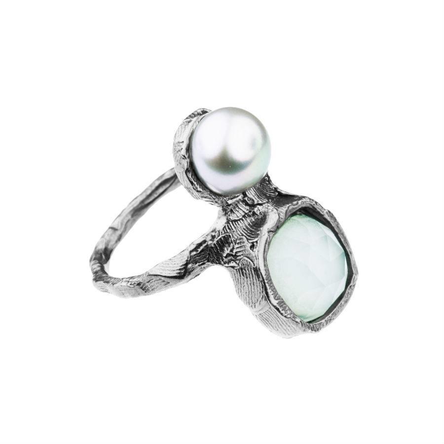 """Ring """"treasure island"""" M5416 met groene agaat en zoetwaterparel-1"""