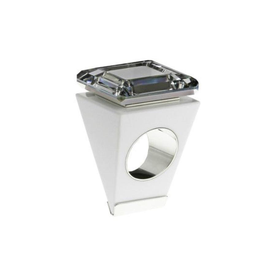 Big Ring vierkant wit-zilver-1