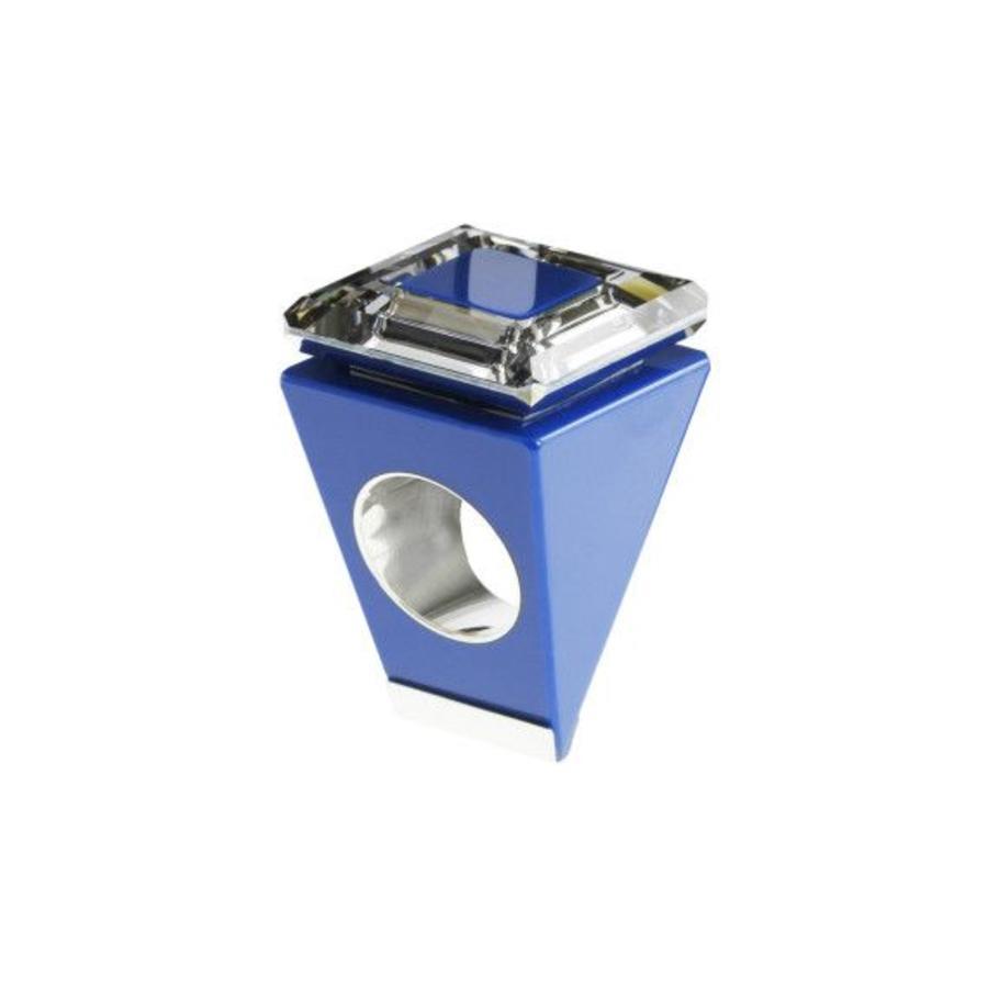 Big Ring vierkant blauw-zilver-1