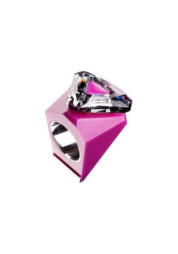Ostrowski Design Big Ring driehoek roze - zilver