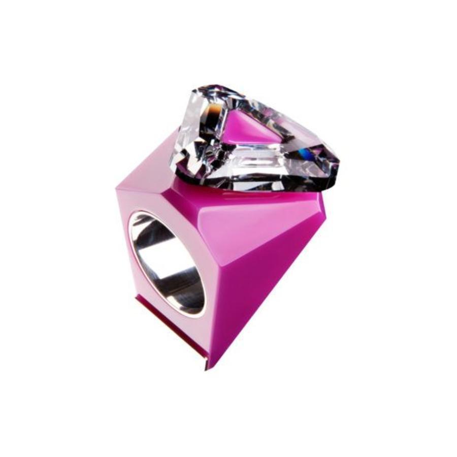 Big Ring driehoek roze - zilver-1