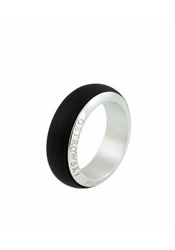 Ostrowski Design Ring Joy Line zwart - zilver