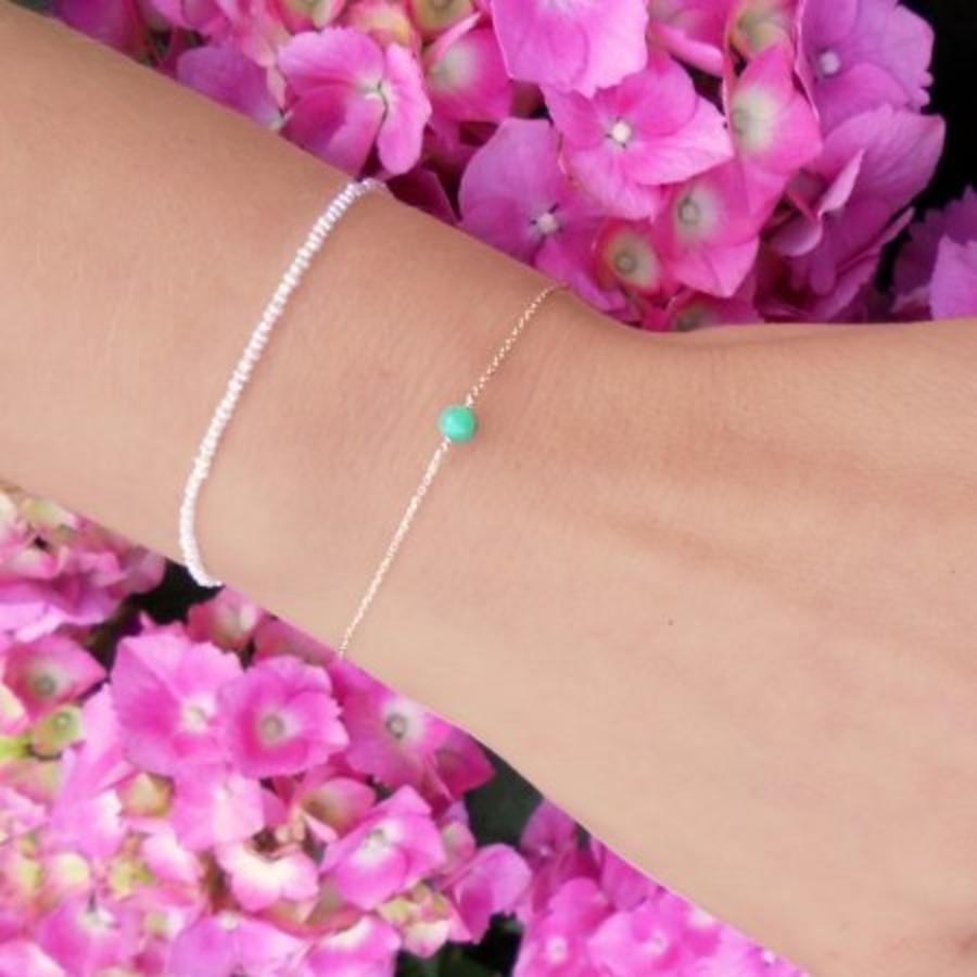 "Armband ""natural"" Chrysopraas - zilver-2"