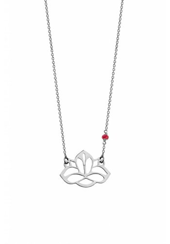 "Minty dot Ketting ""ruby-lucky charm"" Lotus - zilver"