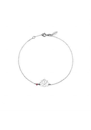 "Minty dot Armband ""ruby-lucky charm"" Lotus - zilver"