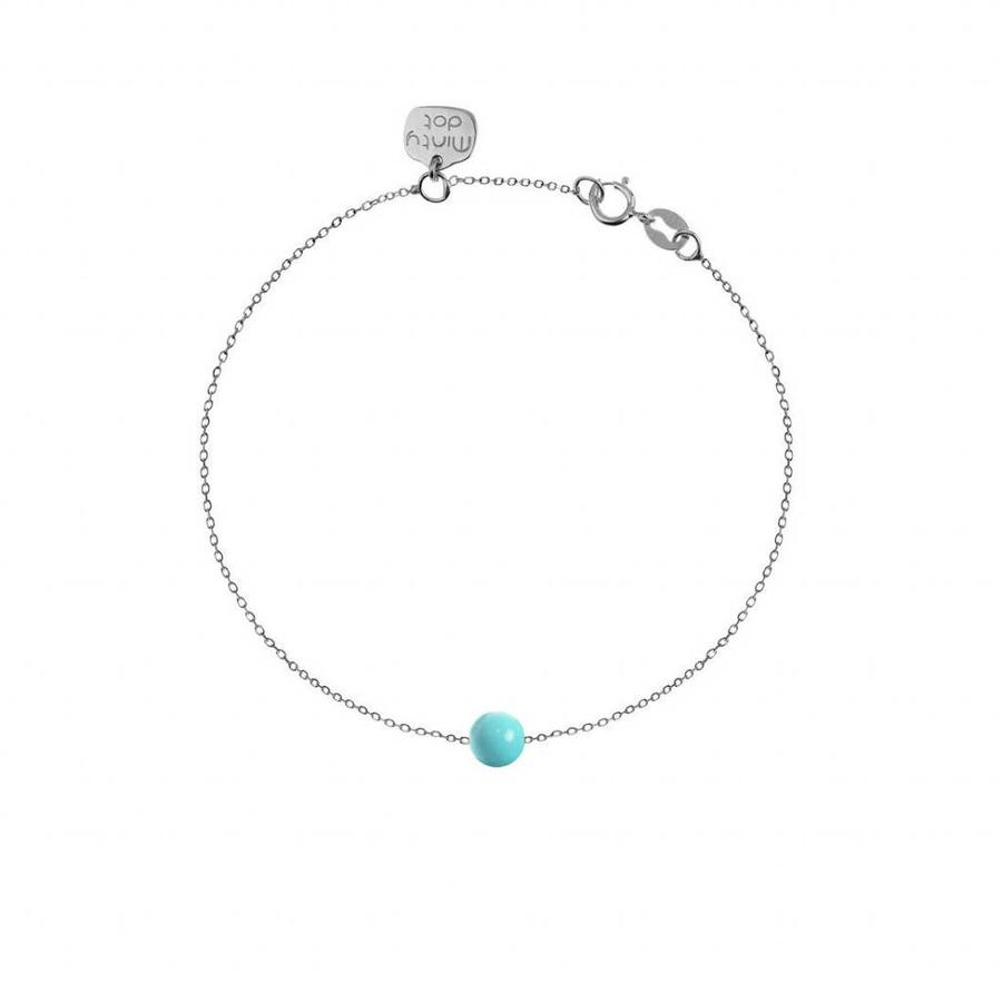 "Armband ""forget me not"" turkoois baaletje - zilver-1"