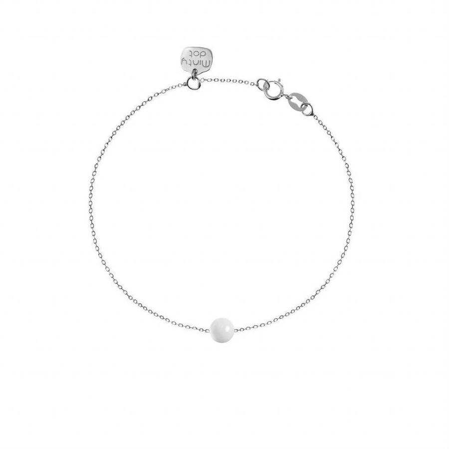 "Armband ""forget me not"" witte agaat baaletje - zilver-1"