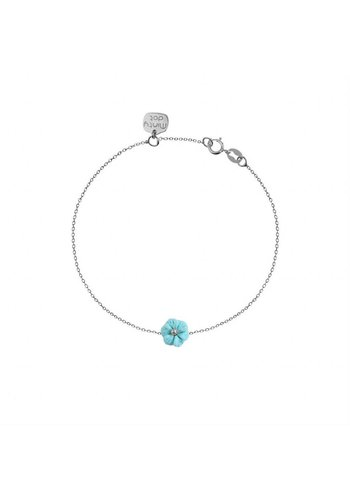 "Minty dot Armband""forget me not""bloemetje - zilver"
