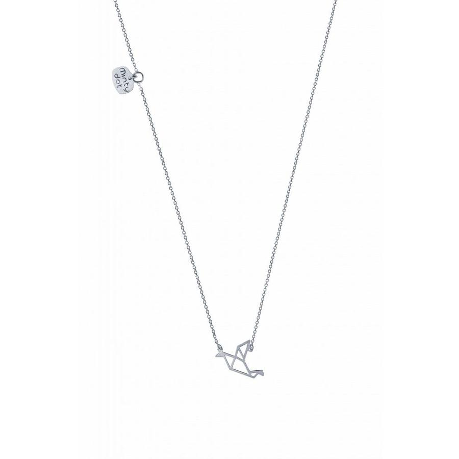 "Ketting ""origami"" Duif - zilver-1"