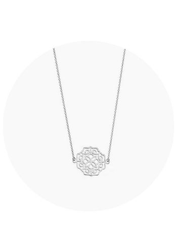 "Minty dot Ketting '""lace"" - zilver"