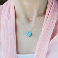 """thumb-Ketting """"forget me not""""  witte agaat balletje- zilver-2"""